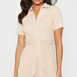 Stone Cord Zip Front Tie Waist Shirt Dress