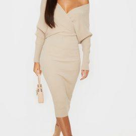 Stone Wrap Off The Shoulder Midi Dress