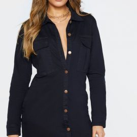 Tall Black Button Front Denim Shirt Dress