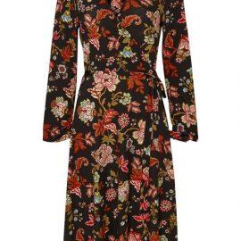 **Tall Black Floral Print Midi Wrap Dress