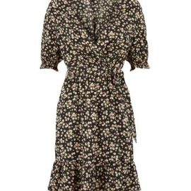 Tall Black Floral Wrap Dress New Look at New Look UK