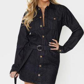 Tall Black Washed Belted Denim Shirt Dress