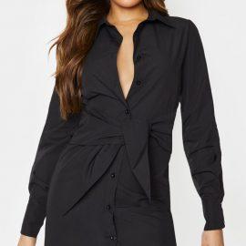 Tall Black Wrap Detail Shirt Dress