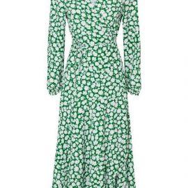**Tall Green Floral Midi Wrap Dress