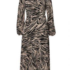 **Tall Neutral Marble Wrap Midi Dress