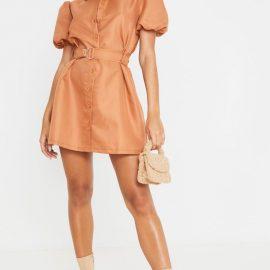 Terracotta Puff Sleeve Belted Shirt Dress