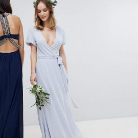 Tfnc Petite TFNC Petite Wrap Maxi Bridesmaid Dress With Tie Detail And Puff Sleeves