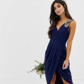 Tfnc Petite TFNC Petite bridesmaid exclusive wrap midi dress in navy
