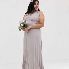 Tfnc Plus TFNC Plus bridesmaid exclusive multiway maxi dress in grey