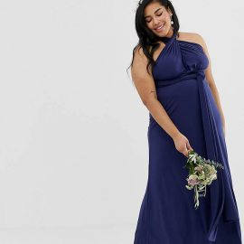 Tfnc Plus TFNC Plus bridesmaid exclusive multiway maxi dress in navy
