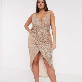 Tfnc Plus TFNC Plus wrap front sequin maxi dress in rose gold
