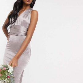 Tfnc TFNC Bridesmaid multi way maxi dress in grey