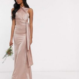 Tfnc TFNC Bridesmaid multi way maxi dress in mink