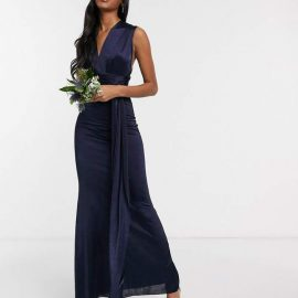 Tfnc TFNC Bridesmaid multi way maxi dress in navy