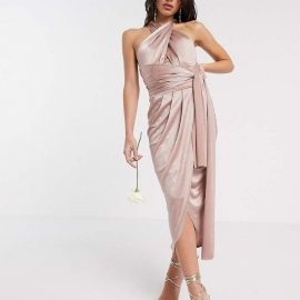 Tfnc TFNC Bridesmaid multi way midi dress in shiny fabric
