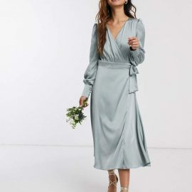Tfnc TFNC bridesmaid long sleeve wrap front sateen midi dress with belt in sage