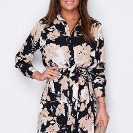 Tie Waist Floral Leaf Print Shirt Dress at Vestry Online