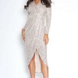 V Neck Wrap Front Sequin Dress at Vestry Online