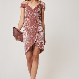 Velveteen Wrap Plunge Dress at Everything 5 Pounds