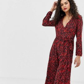 Vero Moda Tall wrap midi dress