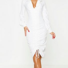 White Long Sleeve Ruched Midi Shirt Dress