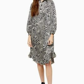Womens Animal Ruffle Hem Shirt Dress - Monochrome