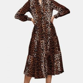 Womens Animal Tiered Shirt Dress - True Leopard