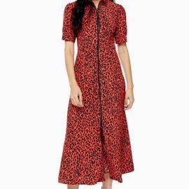Womens Animal Zip Through Shirt Dress - Red