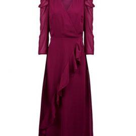 Womens Berry Puff Sleeve Wrap Dress - Purple