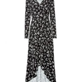 Womens Black Floral Print Jersey Wrap Dress