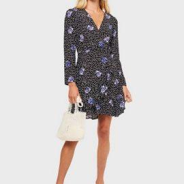 Womens Black Floral Print Wrap Frill Mini Dress
