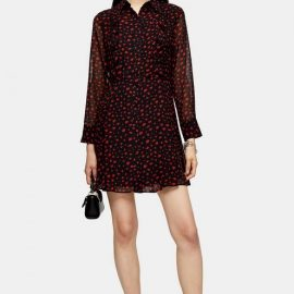 Womens Black Ruffle Mini Shirt Dress - Black