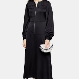 Womens Black Satin Zip Shirt Dress - Black