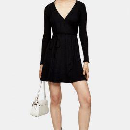 Womens Black Seersucker Wrap Mini Dress - Natural