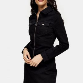 Womens Black Stretch Denim Zip Through Shirt Dress - Black