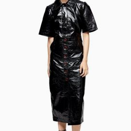 Womens Black Vinyl Leather Midi Shirt Dress - Black