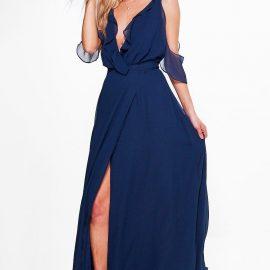 Womens Boutique Chiffon Frill Wrap Maxi Dress - Navy at boohoo.com UK & IE