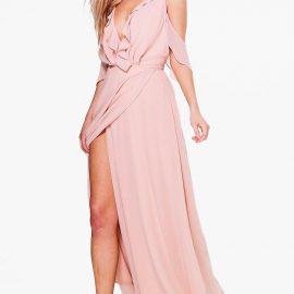 Womens Boutique Chiffon Frill Wrap Maxi Dress - Pink at boohoo.com UK & IE
