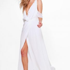 Womens Boutique Chiffon Frill Wrap Maxi Dress - White at boohoo.com UK & IE