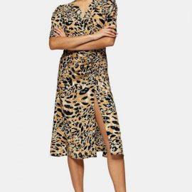 Womens Brown Animal Print Midi Wrap Dress - Brown