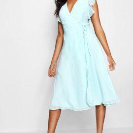 Womens Chiffon Ruffle Skater Wrap Bridesmaid Dress - Blue at boohoo.com UK & IE