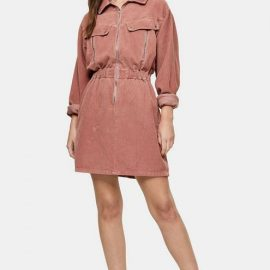 Womens Considered Pink Corduroy Long Sleeve Zip Shirt Dress With Recycled Cotton - Pink
