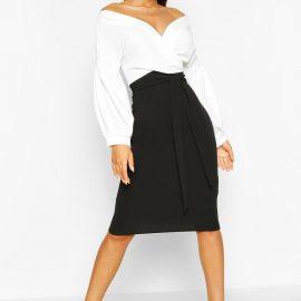 Womens Contrast Off Shoulder Wrap Midi Dress - Black at boohoo.com UK & IE