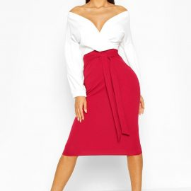 Womens Contrast Off Shoulder Wrap Midi Dress - Red at boohoo.com UK & IE