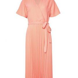 Womens Coral Pleat Wrap Midi Dress