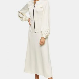 Womens Cream Satin Zip Shirt Dress - Cream