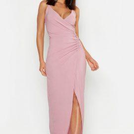 Womens Crepe Plunge Wrap Detail Maxi Dress - Purple at boohoo.com UK & IE