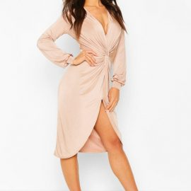Womens Disco Slinky Twist Front Wrap Dress - Beige at boohoo.com UK & IE
