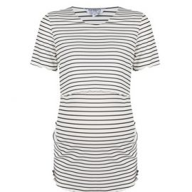 Womens Dp Maternity Ivory Stripe Print Nursing Ribbed T-Shirt