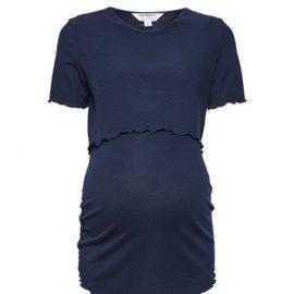 Womens Dp Maternity Navy Nursing Rib Tee - Blue